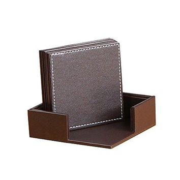YAPISHI PU Leather Coasters  Table Mats with Holder for Cup Glass Tableware Table Decoration??????Set of 6 with Holder  BlackSquare