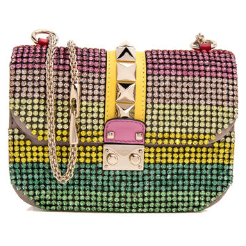Valentino Multicolor Rockstud Crystal Embellished Crossbody