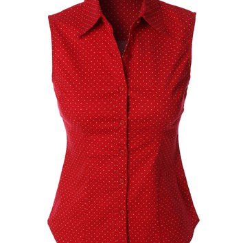 LE3NO Womens Lightweight Polka Dots Sleeveless Button Down Shirt