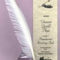 Goose Quill Pen with Powdered Ink, Hand Carved Feather Pen