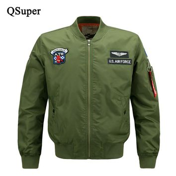 QSupe Spring Men Thin US Air Force Bomber Jacket Windproof Men Pilot Jacket with Arm Patch Chest Logo Military Tactical Jacket