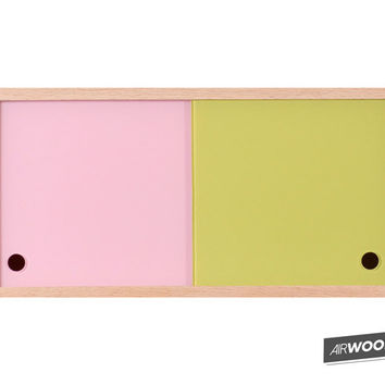 Pink + Green Vinyl Record Accessory Cabinet