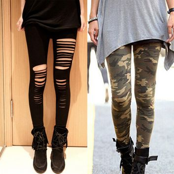 2016 Autumn New Camouflage Printed Pants Leggings Female Fashion Wild Stretch Black Dancing Pant Ripped Hole Leggings Trousers