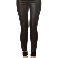 Faux Leather Embroidered Leggings