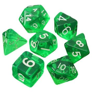 7 Dice Sided D4 D6 D8 D10 D12 D20 Mtg Magic The Gathering D Transparent Green