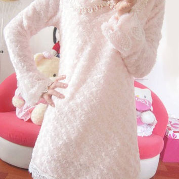 Pink Long Sleeve Lace Beaded Dress