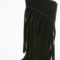 Stitched Fringe Moccasin Knee High Boots | MakeMeChic.com