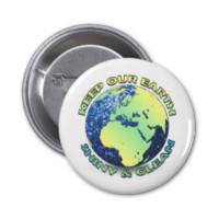 Keep our Earth shiny&clean Earth Day blue sparkles Button
