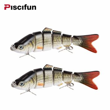 Fishing Lures Bait  2 Pieces 10cm 20g 3D Eyes 6-Segment Hard Crankbait With 2 Ho