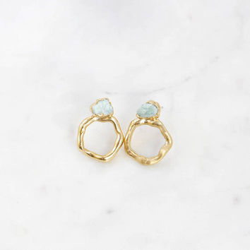 circle hoops | circle stud earrings | crystal hoops | raw gemstone hoops | amazonite earrings | circle drop earrings | brutalist earrings