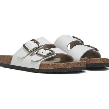 White Mountain Helga Footbed Sandal White Leather