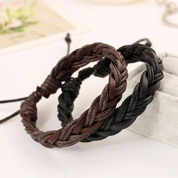 Hand Woven Adjustable Leather Rope Bracelets - 2 Colors