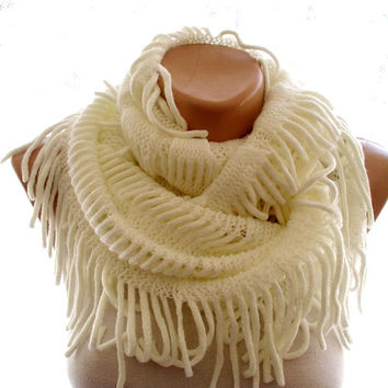 white infinity scarf, scarves for women, white scarf, loop scarf, gift ideas