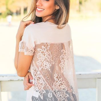 Blush Short Sleeve Top with Lace Back
