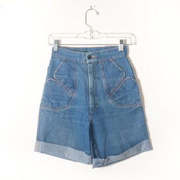 Vintage 1970s Jean Shorts | Ultra High Waisted Shorts Denim Shorts Festival Shorts Hippie Jeans Boho Style Gypsy 70s Peasant Summer Retro
