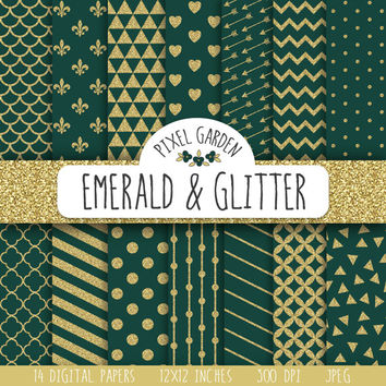 SALE - 30% OFF. Green and Gold Glitter Digital Paper Pack. Emerald Green Glitter Digital Paper. Polka Dot, Stripes, Scrapbooking Paper.