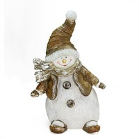 "17"" Whimsical Snowshoeing Ceramic Christmas Snowman Decorative Tabletop Figure"