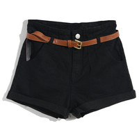 ROMWE | Rolled Cuffs Black Shorts, The Latest Street Fashion