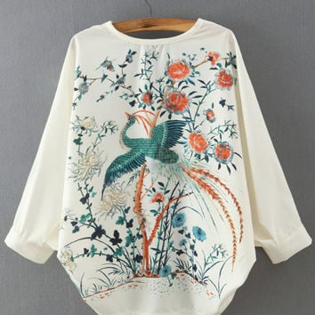 White V-Neck Batwing Sleeve Embroidered Blouse