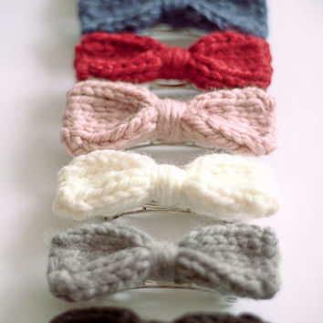 knitted bow barrette, choose your color