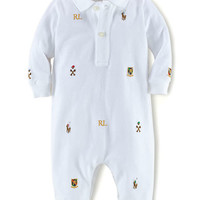 Ralph Lauren Childrenswear Baby Boys Baby Boys Equestrian Embroidered Mesh Coveralls