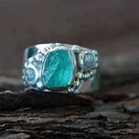 Rough Diamond Apatite Ring Sterling Silver Raw Diamond Engagement Ring Size 7 Silversmithed Metalsmithed