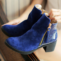 women boots 2016 fashion autumn ankle boots pu leather shoes woman suede Splice black blue high heels boots shoes women dxj1397