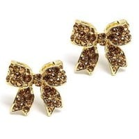 Fashion Crystal Pave Bow Ribbon Stud Earrings Gold