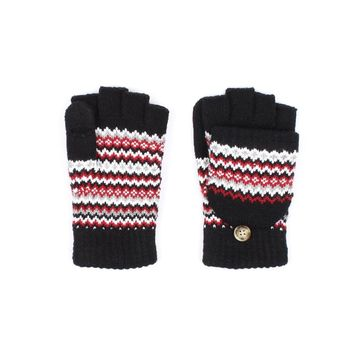 Black Chevron Fingerless Mitten Gloves