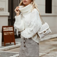 Simplee Solid Turtle Neck Fringe Trim Sweater