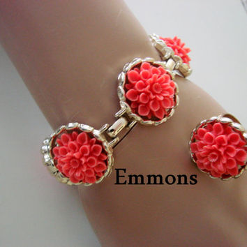Emmons Demi Parure / Bracelet / Ring / Carved Coral Celluloid / Vintage Designer Signed / Jewelry /Jewellery