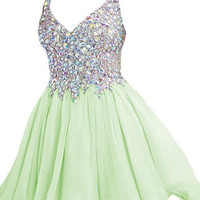 Green Straps Crystal Homecoming Dresses,Mini Sweer Homecoming Dress
