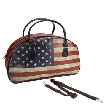 """20"""" Decorative Vintage-Style American Flag Travel Bag with Handles and Shoulder Strap"""