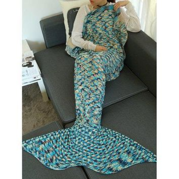 Camouflage Pattern Crochet Knit Mermaid Blanket Throw - Lake Blue