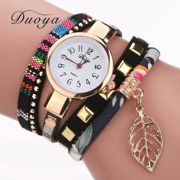 Women Fashion Casual Bracelet Watch Leaf Pendant Fabric Wristwatch Female Watches Classic Luxury Ladies Gold Quartz Watch DY066