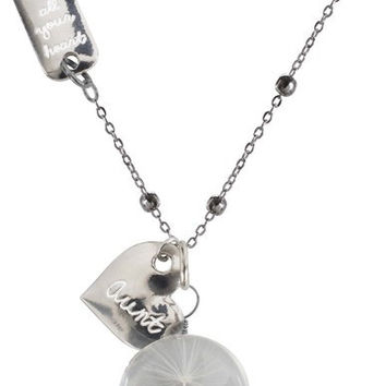 """Aunt - 29"""" Sweater Necklace with Glass Wish Pendant"""