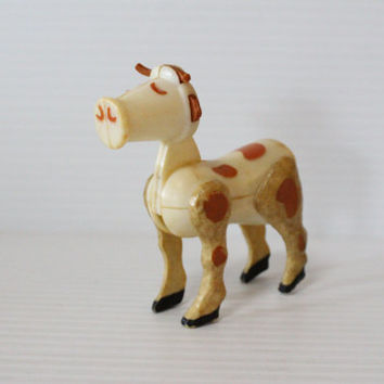 FISHER PRICE Little People White COW with Brown Spots, vintage Farm Animal toy, vintage collectible toy, gift for child, retro toy