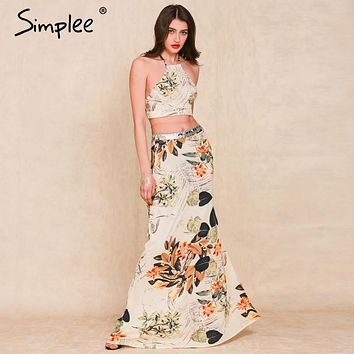 Simplee Apparel 2016 summer boho style Flower print long dress Two pieces backless halter cross women maxi dress vestidos