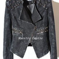 Grunge Punk Biker Studded Studs Black Gray Denim Washed Power Jacket
