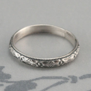 Renaissance Wedding Band or Stacking Ring--Diamond and Floral Patterned Sterling Silver Band with Milgraine Edge