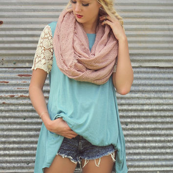 Cafe Terrace Teal Scoop Neck Top & Crochet Lace Sleeves