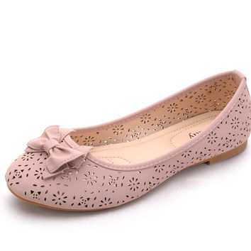 Mila Lady Perforated Laser Cut Ballerlina Chic Flats Shoes W/Bow (Dina2) Pink 10 B(M) US '