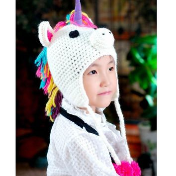 Lovely Cartoon Hat For Girls Boys Warm Knitted Winter Kawaii Cap Unicorn Hat for Children Kids Beanies Baby Skullies Beanies