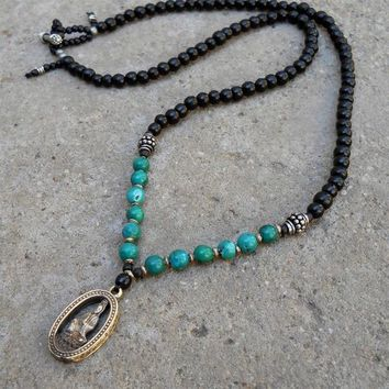 Strength and Truth, 108 Bead Turquoise and Ebony Necklace