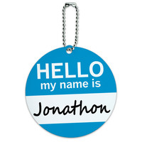 Jonathon Hello My Name Is Round ID Card Luggage Tag
