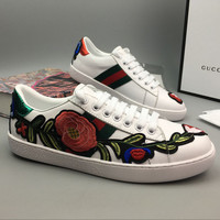 Gucci Woman Fashion Flower Embroidery Flats Shoes Sneakers Sport Shoes