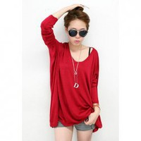 V-Neck Casual Loose-Fitting Solid Color Long Patterns Long Sleeve Knitting Women's Sweater