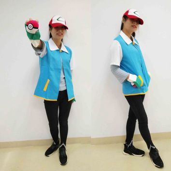 Japan Anime Cosplay Monster Ash Ketchum Trainer Costume  Go Pocket Shirt Jacket Gloves Hat Ball Halloween Party WearKawaii Pokemon go  AT_89_9