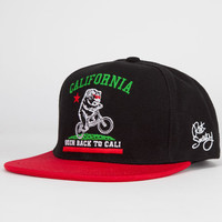 Riot Society Back To Cali Boys Snapback Hat Black/Red One Size For Women 24325112601