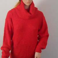 Women's Red  Cowl Neck Sweater -  The Import Workshop - Size Medium - Free US Shipping
